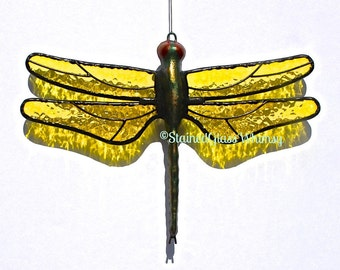 Yellow DRAGONFLY Suncatcher, Stained Glass Lemon Yellow Wings & Hand-Cast Metal Body, Textured, USA Made, Yellow Dragonfly, Yellow Firefly