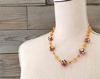golden and topaz lampworked glass necklace