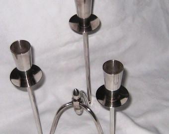 Berg Danish Modern Silver Graduated Triple Candlestick Denmark Mid Century