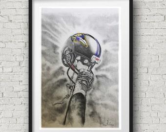 Baltimore Ravens  helmet Art - Football Decor - Baltimore ravens helmet 20x30