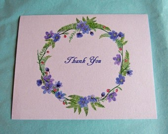 Watercolor Floral Wreath Thank You Note Cards Set of 5 with Envelopes