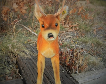 "Steiff Vintage Antique Roebuck Deer Christmas Decoration 1960s  IDS Ex. Cond.  14"" Tall Handmade German Toy Collectible"