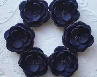 Navy Blue small fabric Flower in handmade Weddings Bridal hair shoe clip dress sash accessory brooch Bridesmaids Flower girls Something blue