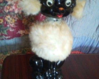 vintage retro tall ceramic google big eye bobble head black poodle bank with fur Artmark