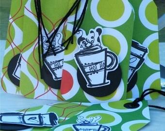 6 Coffee Tags, Java Tag, Joe Tags, Winter Tags, Coffee Art Tags,