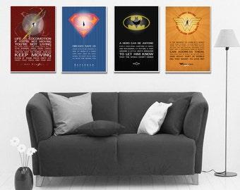 Justice League set Superheroes Minimalist Superhero Typography,Wall art,Christmas Gift,DC Comic gift,Hero Quote Art print  Gift for him