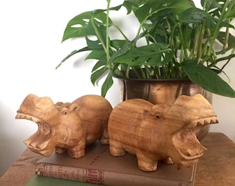 Vintage Wood Carved Hippopotamus / Hand Carved Hippopotamus / Wood Carved Hippo Sculpture