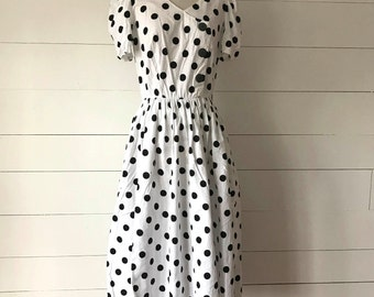 Vintage White Polkadot Dress, Small / Medium