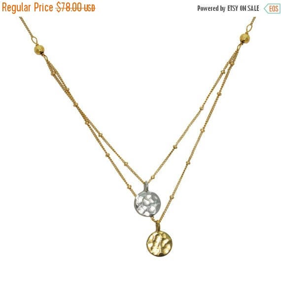 20% off. Dangling Karats. Sun and Moon Necklace. Hammered Disks in Sterling Silver or Gold Vermeil.