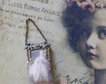 Lady fine historical picture purse,  print on cotton OOAK