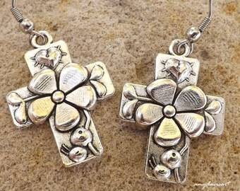 Hail Mary Prayer Cross Earrings, Catholic Jewelry, Christian Jewelry, Spring Jewelry, Flower and Heart Earrings, Confirmation Gift for Her