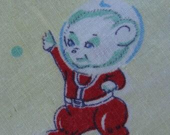 Vintage Children's Novelty Fabric - Astronaut, Animal, Spaceship, Rocket