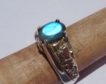 Labradorite Sterling Silver Nugget Style Ring Size 9.5