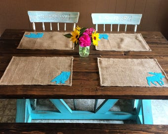 Set of 6- Wildlife Themed Natural Burlap Placemats-Double Sided- Customize-Moose-Bear-Buck-Doe-Owl-Rabbit-SquirrelRustic/Country/Folk Decor