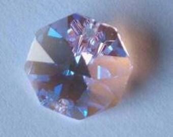 4 SWAROVSKI 8116 Octagon Crystal Beads 14mm LIGHT Rose AB