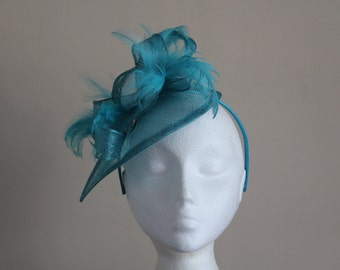 Turquoise Blue Fascinator and Feather Fascinator on a hairband, races, weddings,Kentucky Derby, Melbourne Cup