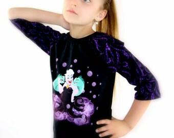 Adult Ariel OR Ursula Raglan style Top - Little Mermaid Baseball Tee - Tentacles - Flounder - Vacation outfit - Disneyland