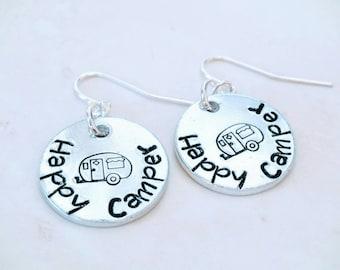 Happy Camper, Camper Earrings, Camping Girl, Stamped Earrings, Metal Stamping, Custom Earrings, Aluminum Jewelry, Outdoor Living, Camper