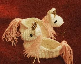 Unicorn Slippers Crochet Pattern