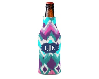 Personalized Bottle Insulator, Navy and Aqua Ikat- DIY Custom Bottle Insulated Beverage Container