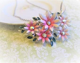 Repurposed Vintage Pink & White Flower Brooch into Pendant Necklace, Silver, AB Rhinestones, Aurora Borealis Costume Jewelry,Statement