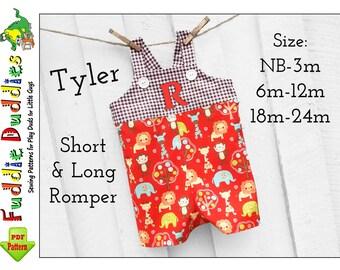Tyler Baby Boy Romper pattern, pdf sewing pattern. Baby Sewing pattern pdf, Romper Sewing Pattern. Short, Long Romper Pattern. Infant Romper