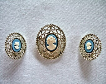 Beautiful Blue & White Cameo Brooch and Earrings Sarah Coventry Vintage Jewelry Ornate Silver Plated Filigree Gift for Her