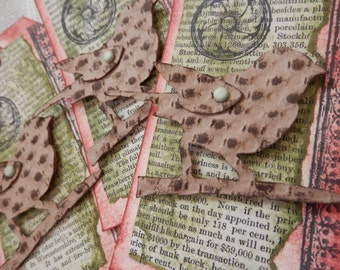 LARGE TAGS 3 - Collage and Ink - Dimensional Bird on a Branch - Sage Green Brick Red Brown Black - Repurposed Vintage