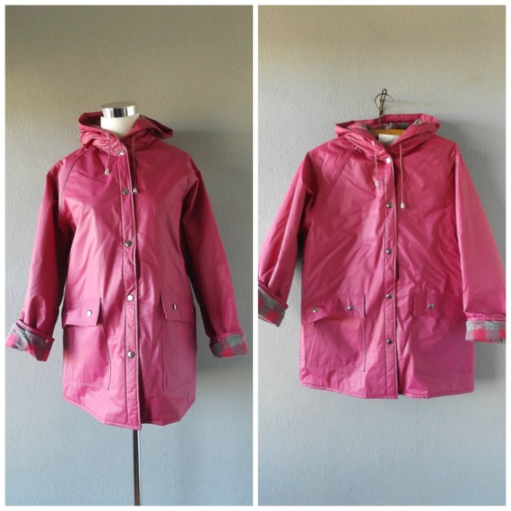 Pink Vinyl Rain Coat Vintage 80s Hooded Waterproof Raincoat