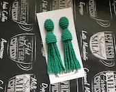 Beaded Tassel Earrings Emerald (made to order)