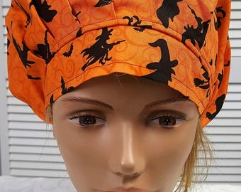 Halloween Flying Witches on Broomsticks - Bouffant Scrub Hat