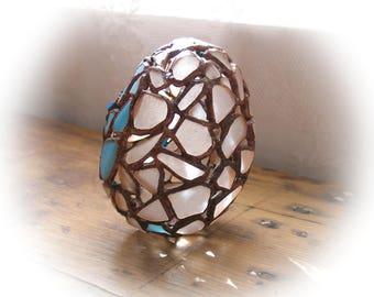Steampunk Egg,Beach Pottery Mosaic Egg,Stained Glass Mosaic,Mint Blue Sea Glass/White beach Glass ,Coastal/Nautical Easter,Seaglass Egg