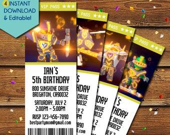 Lego Nexo Knights Invitations, Nexo Knights Birthday Invitation, Nexo Knights Invite, Nexo Knights Party Invitation, Lego Invitations