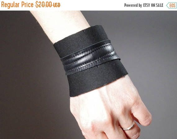 SUMMER SALE Black Leather Cuff Bracelet - Neoprene Cuff Bracelet - Leather Cuff - Black Cuff Bracelet - Leather Black Cuff