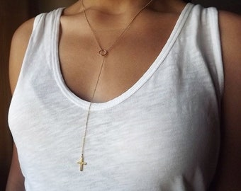 Gold Filled Hammered Cross Long Lariat - Gold Necklace - Everyday Necklace - Cross Necklace - Religious Jewelry
