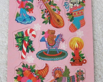 120 Pc Vintage Christmas Gummed Seal Sticker Set PINK Puppy in Stocking Candle ++