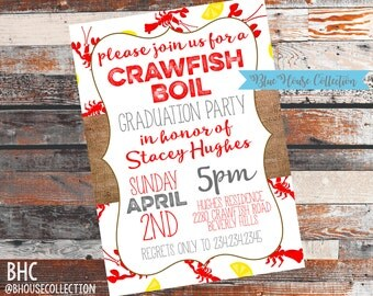 Crawfish Graduation Party. Crawfish Party. Crawfish Event. Graduation Party Invitation. Crawfish Graduation Invite.