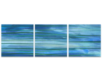 Blue Metal Art 'Ocean View Triptych' by Amber LaRosa - Modern Artwork Abstract Wall Art on Metal or Acrylic