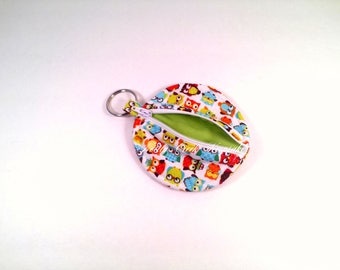 Ear Bud Pouch / Ear Bud Case / Earbud Holder / Zippered Coin Pouch / Owl Design Cotton Fabric Lined in Green