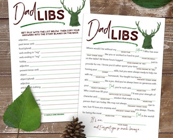 Dad Libs Madlib - Father's Day Card Alternative - Printable Instant Download