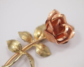 """Vintage KREMENTZ Floral Rose Brooch Pin - Beautifully Crafted - Yellow & Rose Gold Plated - Sturdy Layered Construction - 2"""" x 7/8"""""""