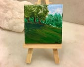 """Original Handmade Art: Painting on a Mini 2.5"""" Square Canvas with Small Easel; Landscape of St. Paul, Minnesota Nature/Trees"""