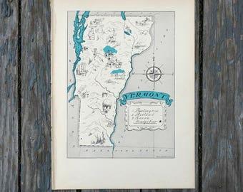 Map of Vermont / Travel Wall Art / Vintage Map Print / Quinn State Map / Vermont Map Art / Burlington Vermont / Vermont Decor