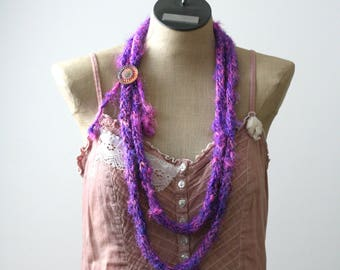 Ready to Ship Silk Sari Necklace - Hand Knit Necklace - I-cord Necklace - Recycled Silk Necklace - Purple Necklace - Pink Necklace - Boho