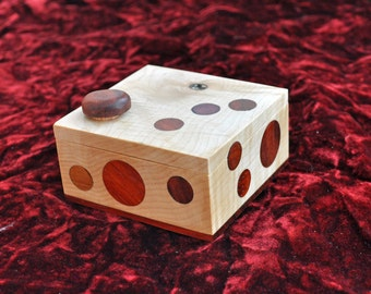 Trick, Puzzle Box  -  Very Unique with exotic wood inlay