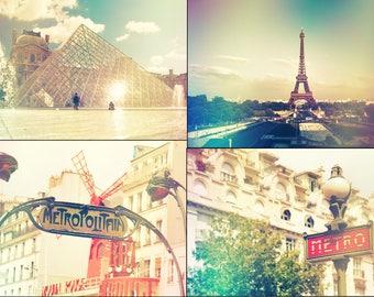 Digital file collection, Paris printable decor, travel printable wall art, vintage style Paris, home decor, shabby chic digital photos