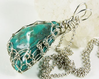 Natural Turquoise Pendant Necklace, Sterling Silver Wire Wrap, viking weave, fine, artisan, blue gemstone, gift for her, December birthstone