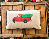 Christmas Red Truck Pillow Cover, Various Sizes, Navy or Red Plaid Piping/Trim