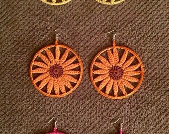 Sun Shine Crochet Earrings