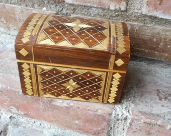 Wooden box handmade with patchwork technique  -Turkish traditional art/Jewel Box one of a kind